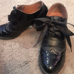 Chelsea Crew black patent spectator heels